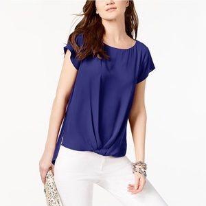 INC Draped Hem Top Short Sleeve Royal Blue Size XL